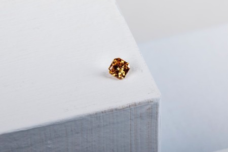 A square, color diamond from Eterneva diamond, a new Mark Cuban-backed startup that turns cremated ashes into diamonds