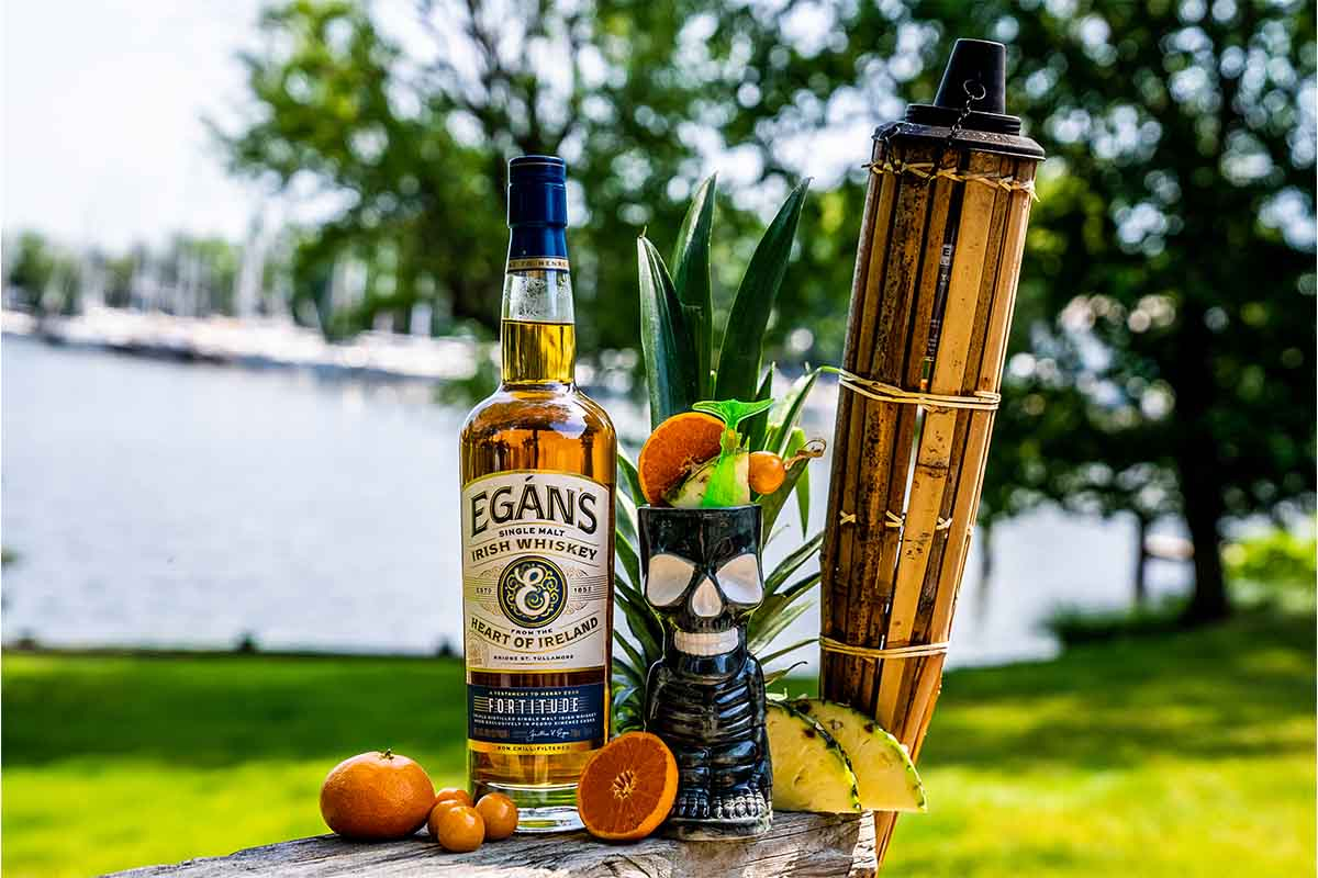 """""""The Taste of Things Recovered"""" cocktail, a tiki riff made with Irish whiskey"""