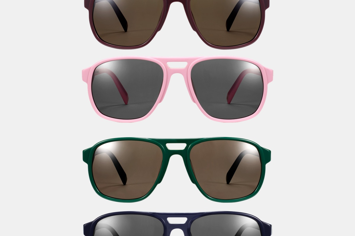Entireworld x Warby Parker Hatcher Sunglasses in Oxblood, Pink, Green and Navy