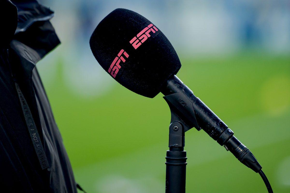 The ESPN logo on a mic