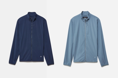 Everlane Sport Soft-Shell Jacket in Navy and Light Blue