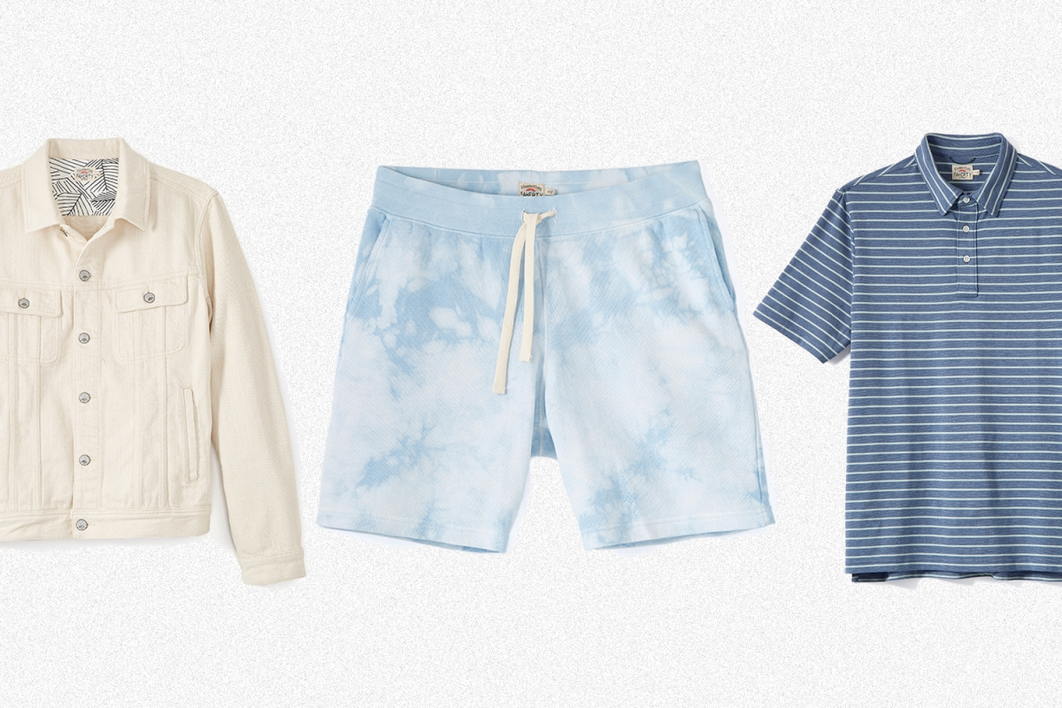 Faherty Storm Rider Denim Jacket, Tie-Dye Sweatshorts and Movement Polo. All the men's styles are on sale at Huckberry.