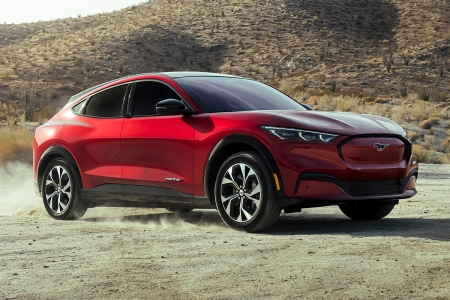 Ford's new 2021 Mustang Mach-E, an electric crossover. We test drove a First Edition model of the SUV for our review.