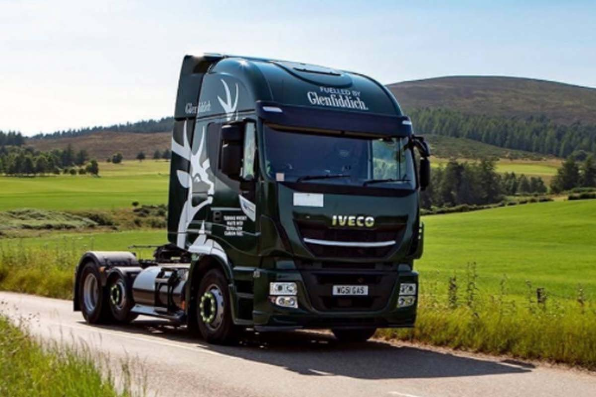 Delivery trucks for Glenfiddich, now running on biogas crafted from distillery liquid waste