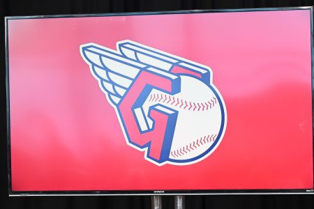 The new logo of the Cleveland Guardians. The change of the team name has divided fans, often along political lines.