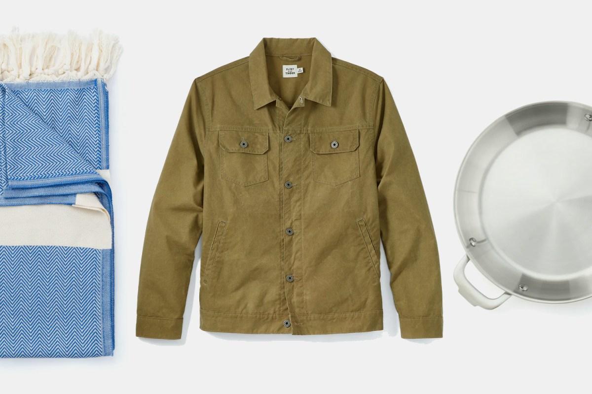 Turkish Towel in Herringbone, Flint and Tinder Unlined Waxed Trucker Jacket, Proclamation Goods Skillet