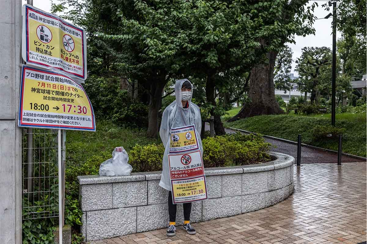 A man wears signs informing people that they cannot drink alcohol in the Olympic Stadium, on July 8, 2021 in Tokyo, Japan. Japans Prime Minister, Yoshihide Suga, has announced a fourth state of emergency for Tokyo which will run throughout the Olympic Games and remain in place until August 22nd. The countrys capital has seen an increase in coronavirus cases with 920 infections registered yesterday, up from 714 last week and the highest figure since May 13th.