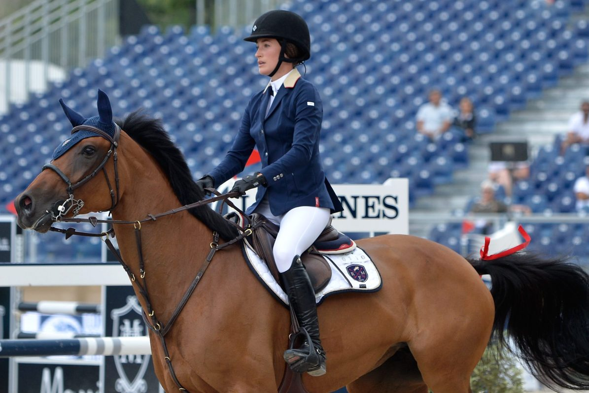 Jessica Springsteen, Bruce Springsteen's daughter, on horseback at the 5th Longines Paris Eiffel Jumping in 2018 in Paris