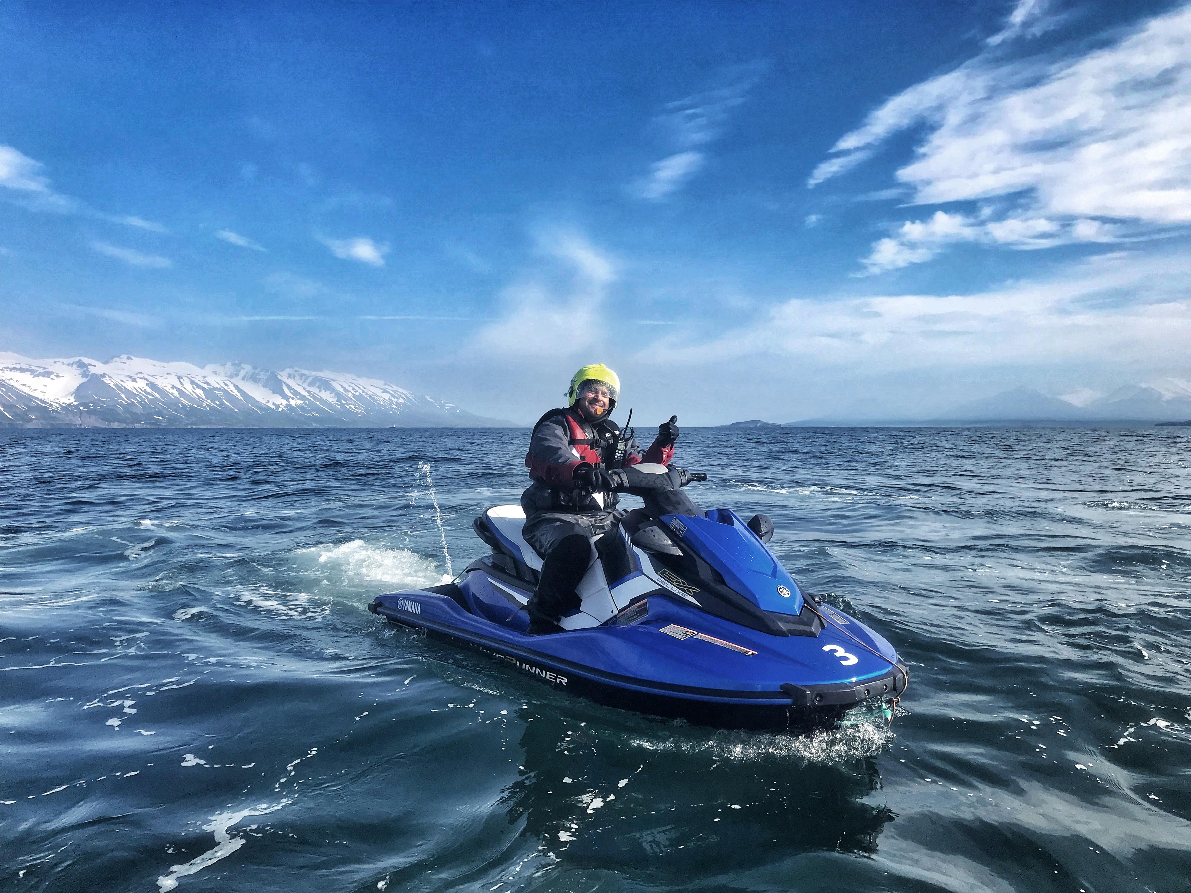 Jet skiing in Iceland near the town and fjord of Ólafsfjörður