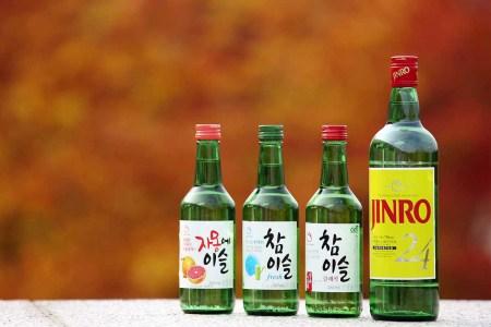 Bottles of Jinro soju, the world's best-selling spirit