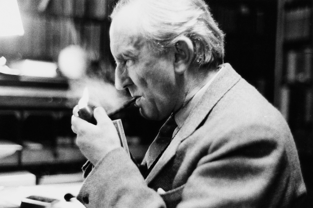 """J.R.R. Tolkien smoking a pipe at Oxford in December 1955, a couple years after he completed his translation of """"Sir Gawain and the Green Knight."""""""