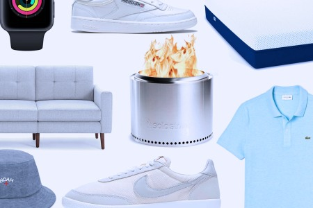 A collage featuring a Solo Stove, a Burrow couch, Nike sneakers, a mattress and a polo shirt, all of which are part of our favorite Fourth of July sales