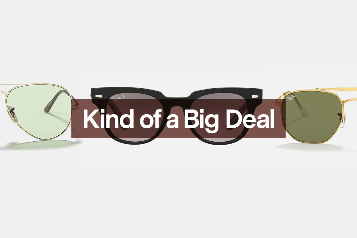 Three different pairs of classic Ray-Ban sunglasses, all of which are on sale right now