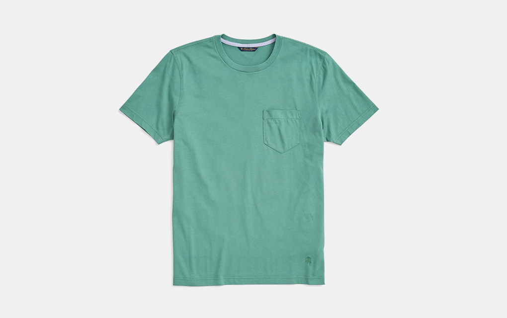 Brooks Brothers Washed Cotton Pocket Crewneck T-Shirt in Light Green