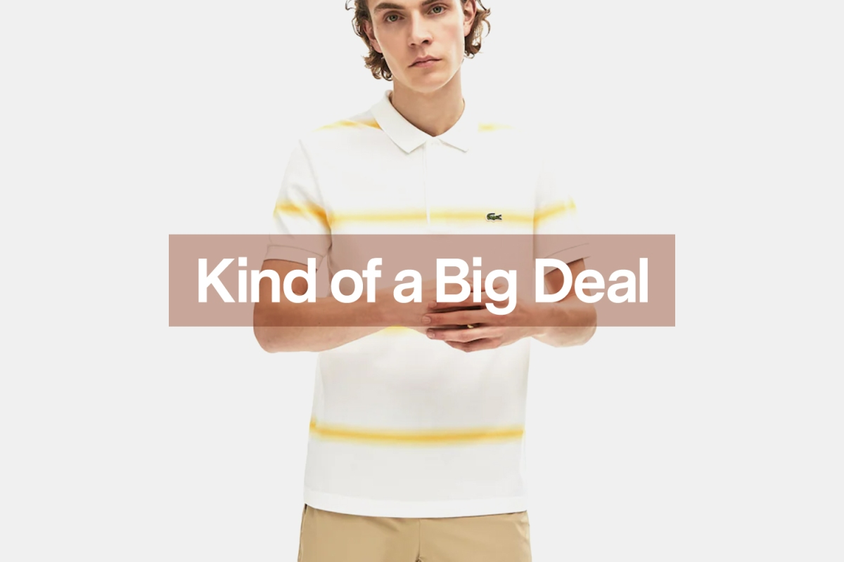 Model in white and yellow striped Lacoste Polo