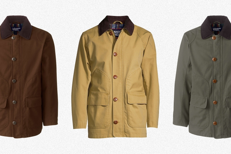 Three versions of Lands' End's men's Barn Coat, in Squire Brown, Field Drab and Forest Moss. The fall jacket is on sale for up to 63% off.