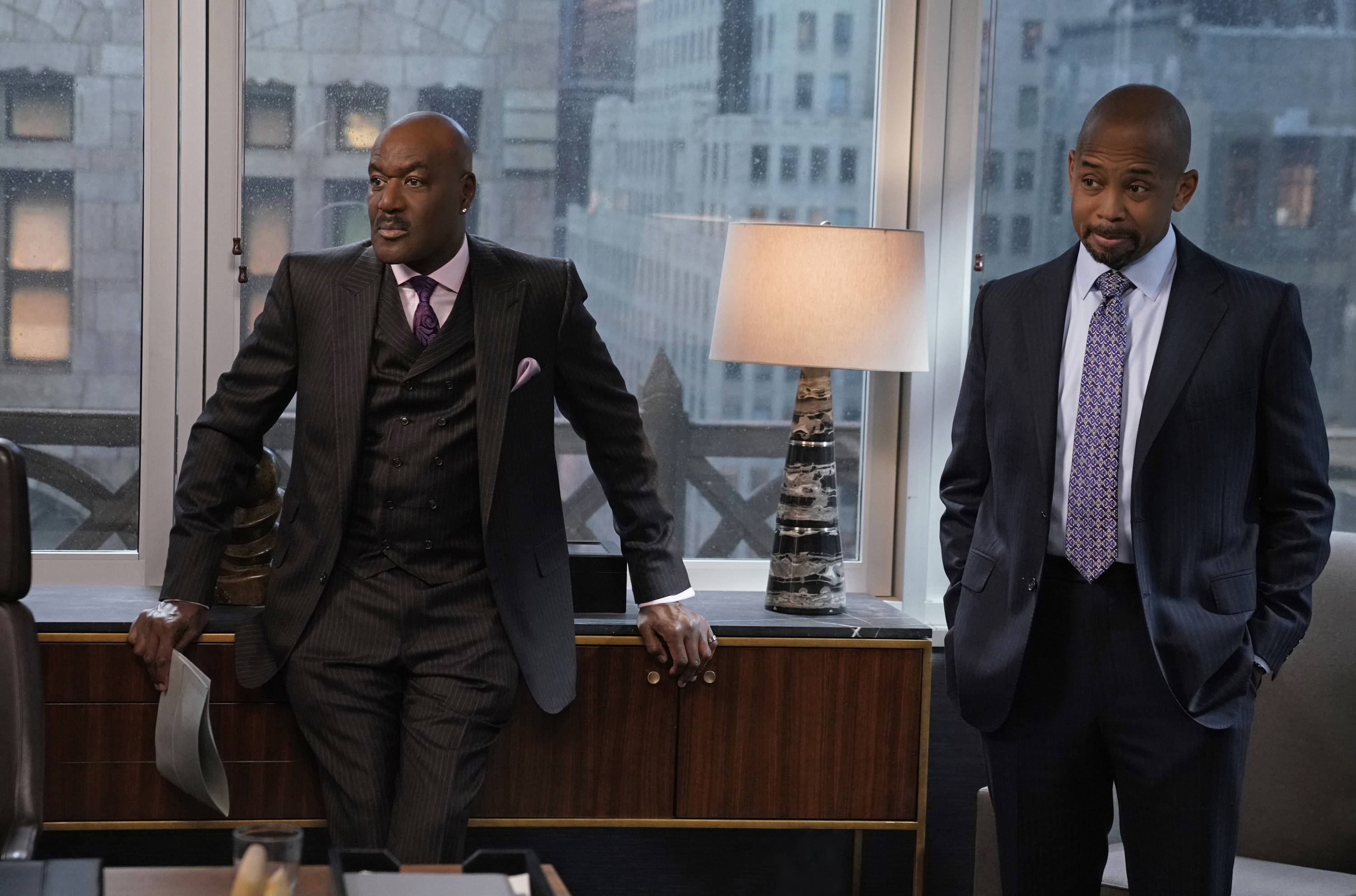 """Delroy Lindo as Adrian Boseman and Michael Boatman as Julius Cain on """"The Good Fight"""""""