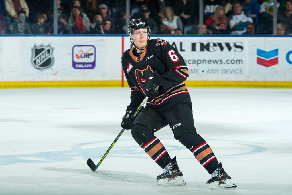 Luke Prokop while playing for the Calgary Hitmen. The NHL prospect recently announced he is gay, a milestone for the sport.