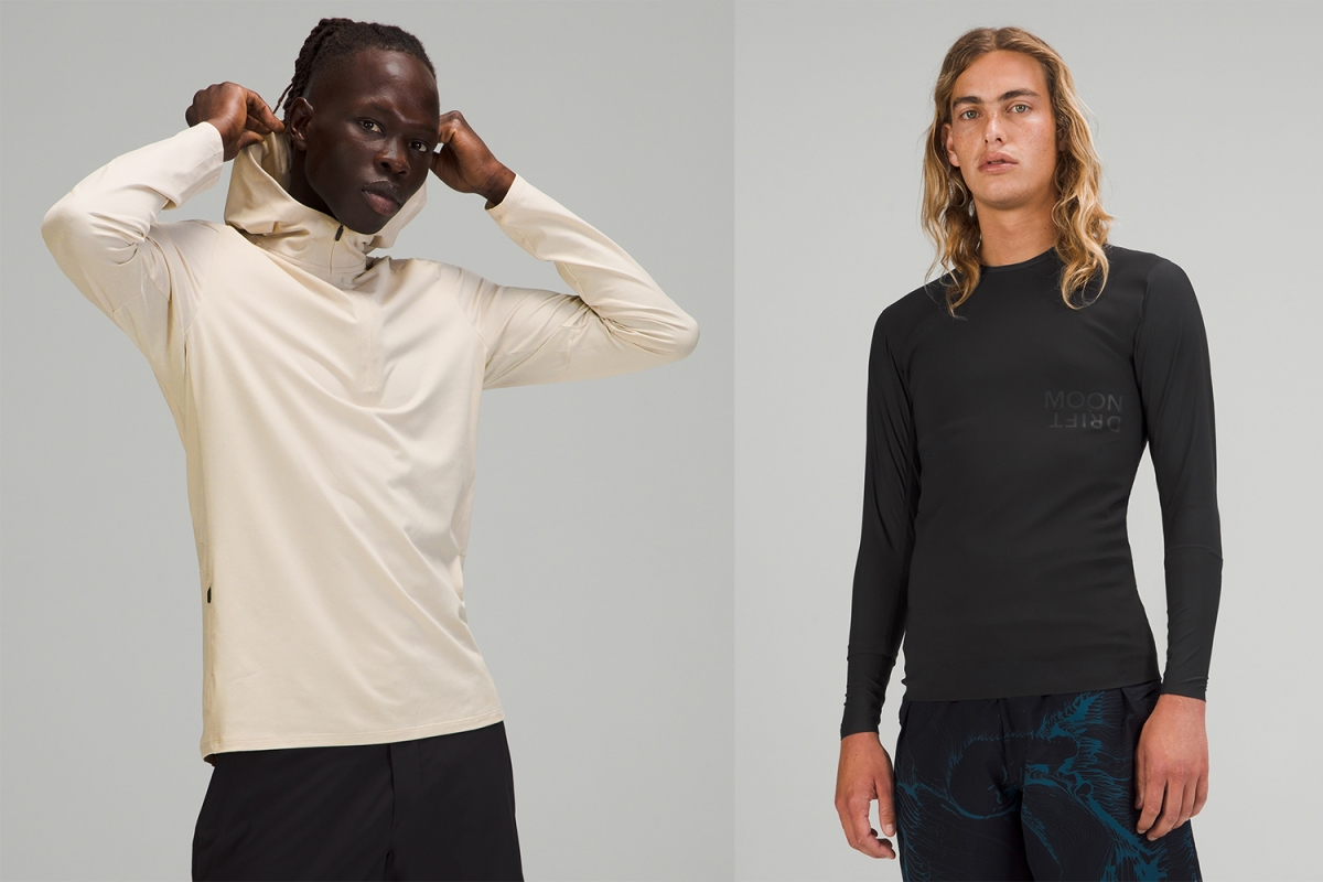 Two models wearing clothes from the new Moon Drift collection from Lululemon, designed in collaboration with big wave surfer Mark Healey