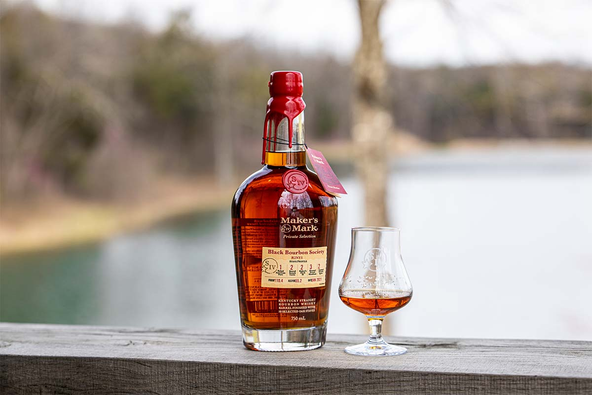 A bottle and dram of Black Bourbon Society's Maker's Mark Private Selection: Recipe 2