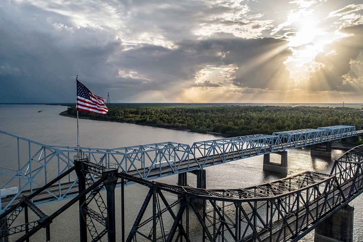 At the Vicksburg bridge in Mississippi looking west into Louisiana.