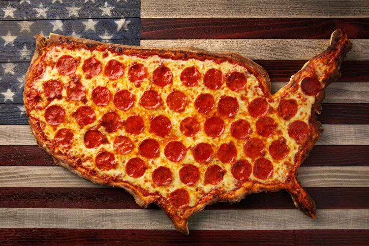 """""""The United States of Pepperoni,"""" a staged pizza photo in the shape of the U.S. behind the American flag"""