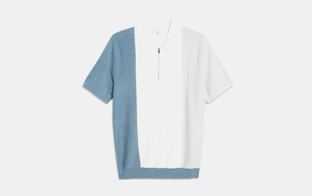 Reiss Rhuben Slim Fit Colorblock Short Sleeve Wool Blend Zip Polo in Airforce Blue