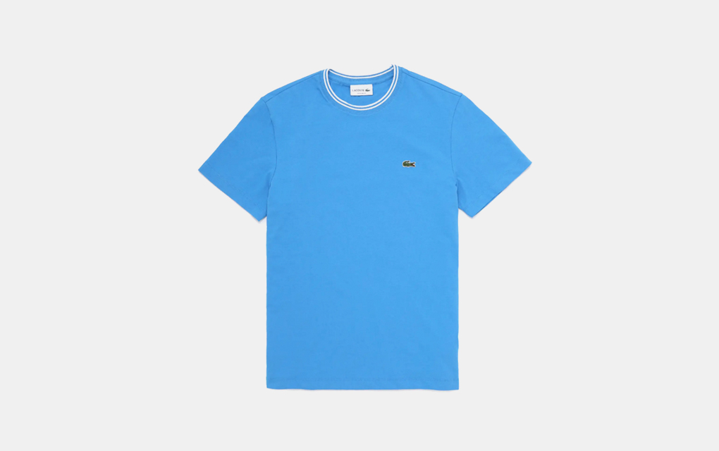 Lacoste Logo Tipped T-Shirt in Blue/White