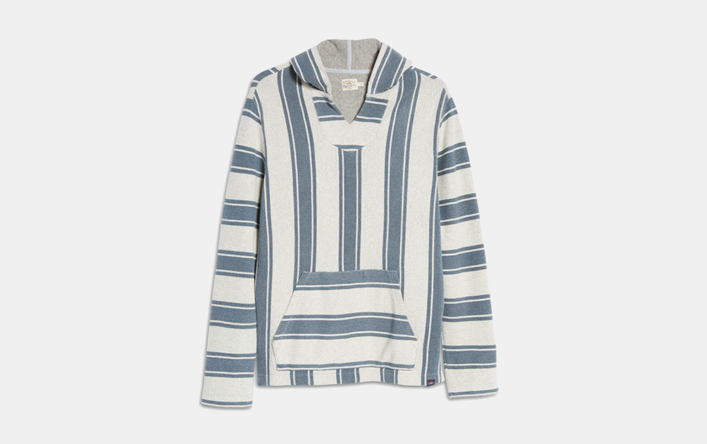 Faherty Baja Terry Hoodie in Blue and White Stripes
