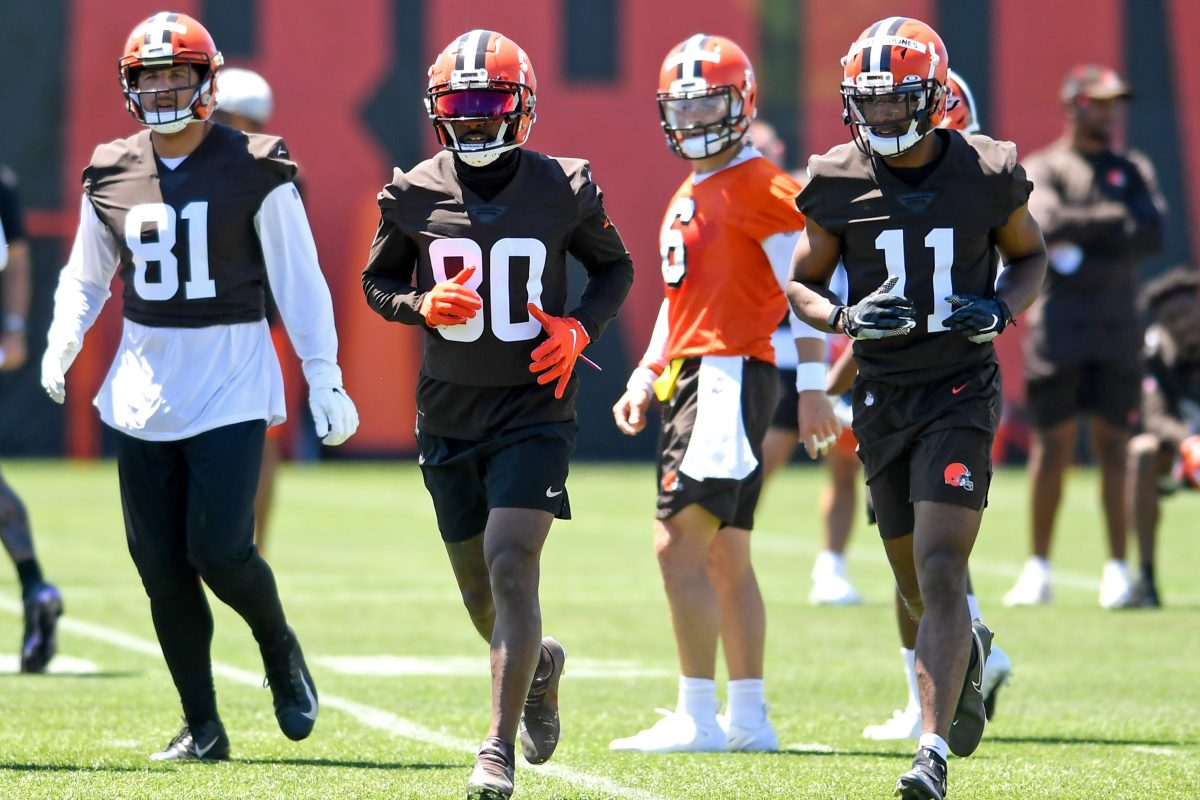Cleveland Browns wide receivers run a drill during minicamp in June.