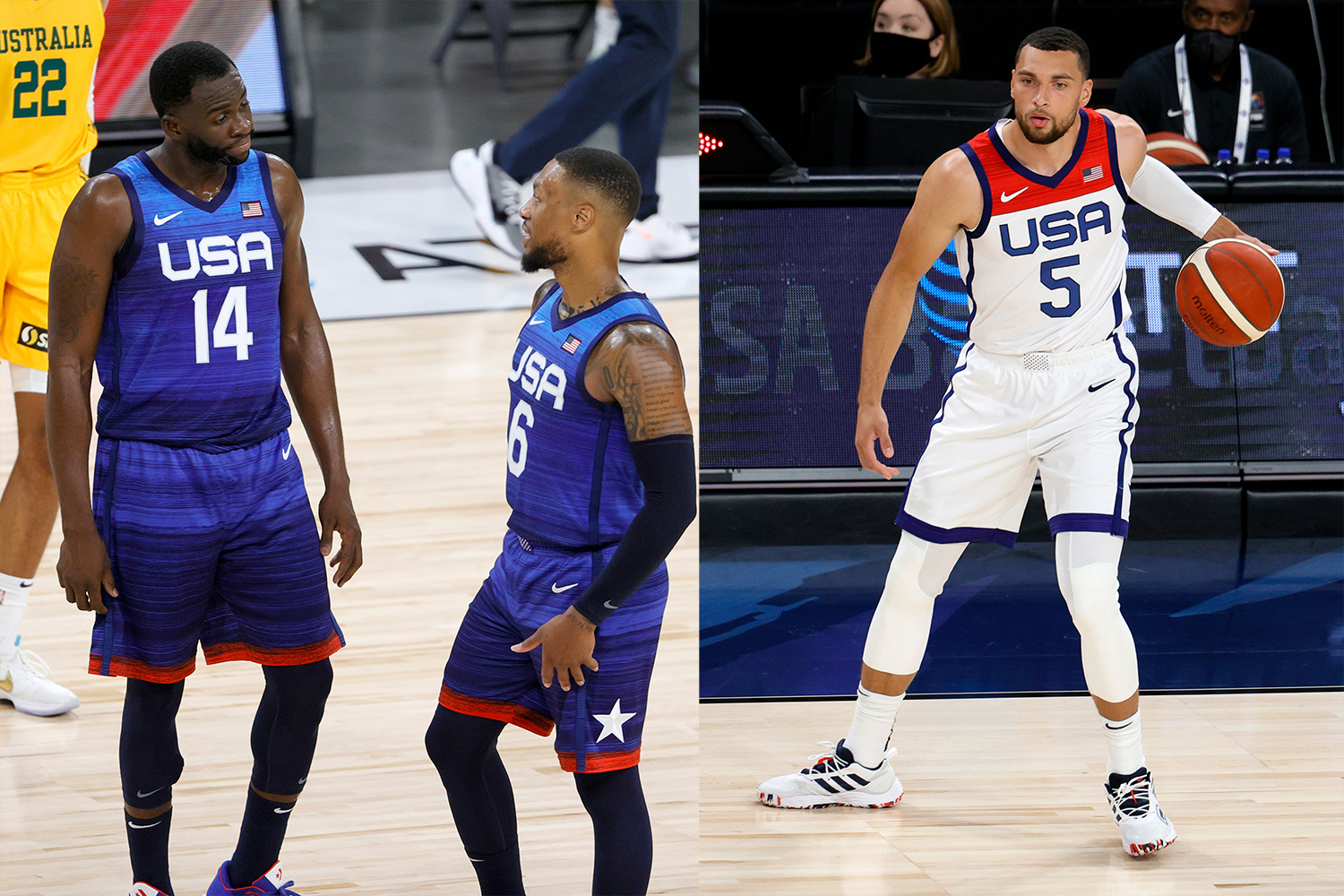 The two uniform designs the USA men's hoops team will be wearing at the Tokyo Olympics