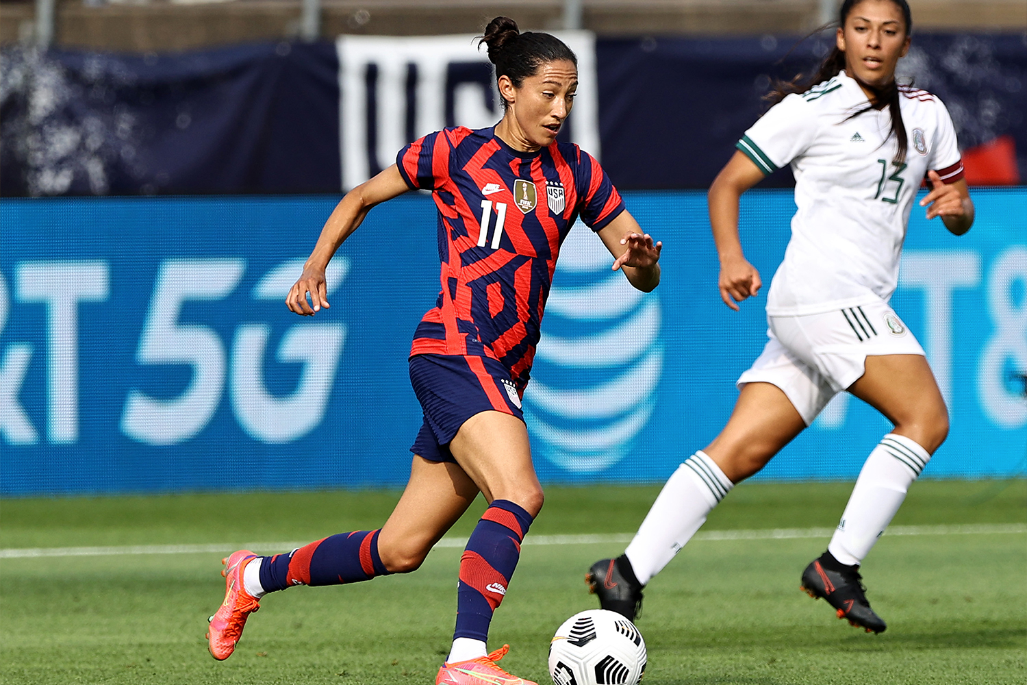 USA soccer star Christen Press in one of the team's new Olympic uniforms
