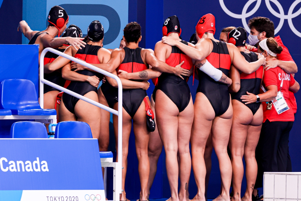 Team Canada during the Tokyo 2020 Olympic Waterpolo Tournament Women match between Team Spain and Team Canada at Tatsumi Waterpolo Centre on July 26, 2021 in Tokyo, Japan