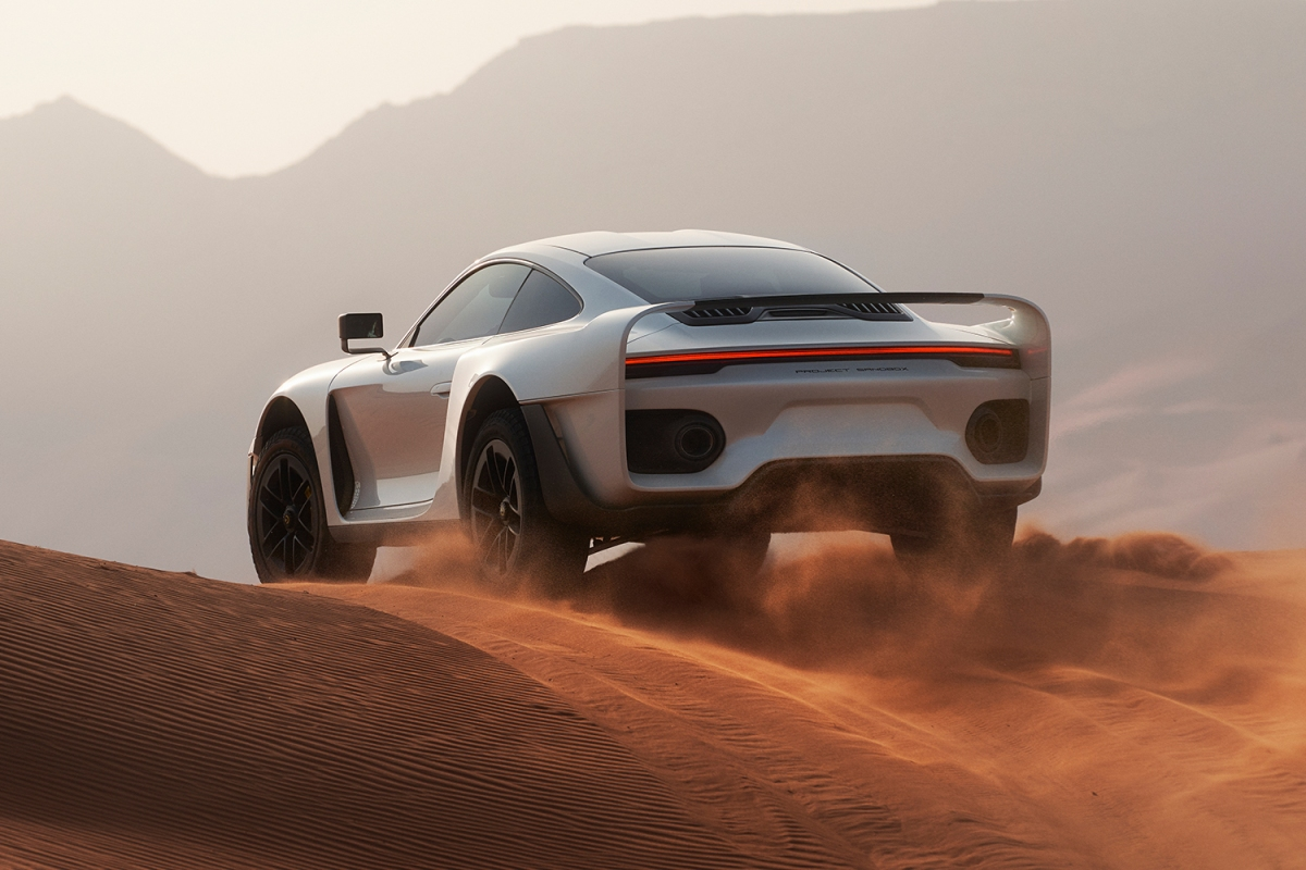 The new Marsien supercar from Marc Philipp Gemballa GmbH testing in the desert of the United Arab Emirates. It's based on the new Porsche 911 Turbo S.