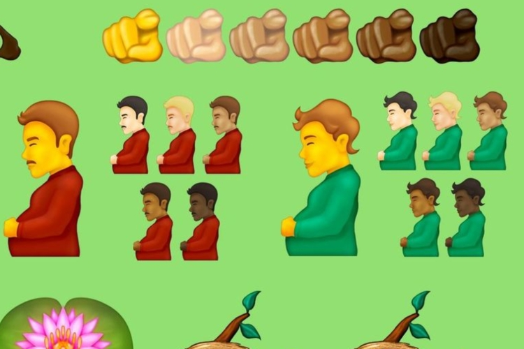 pregnant man and pregnant person emojis shown in various skintones