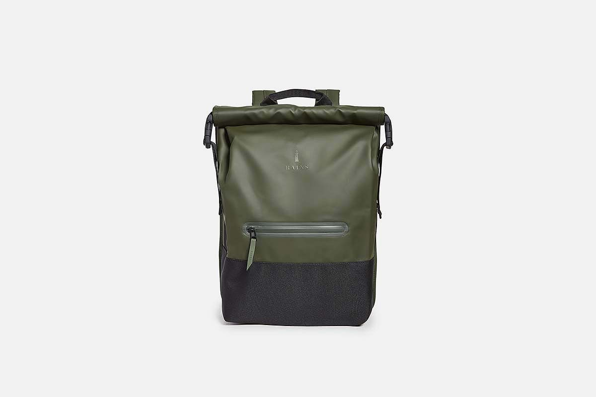 Rains Buckle Rolltop Backpack, now on sale at East Dane