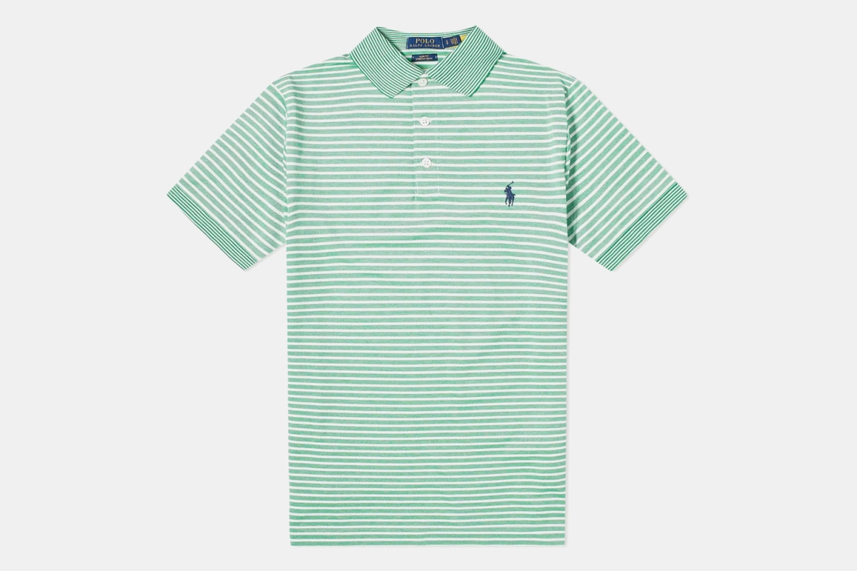 Polo Ralph Lauren Contrasting Stripe Polo in Green, now on sale at End Clothing