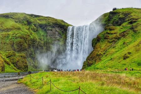 The Skógafoss waterfall in iceland in summer