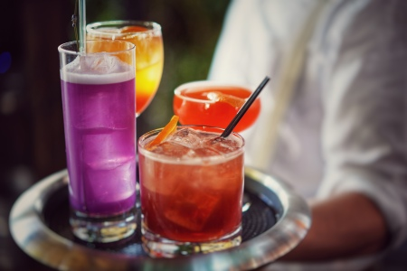 A tray of summer cocktails at the McKittrick Hotel in New York