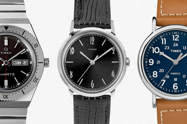A Todd Snyder Q Timex, a Marlin Hand-Wound Mechanical and a classic Weekend from Timex, all discounted during the End of Season Sale