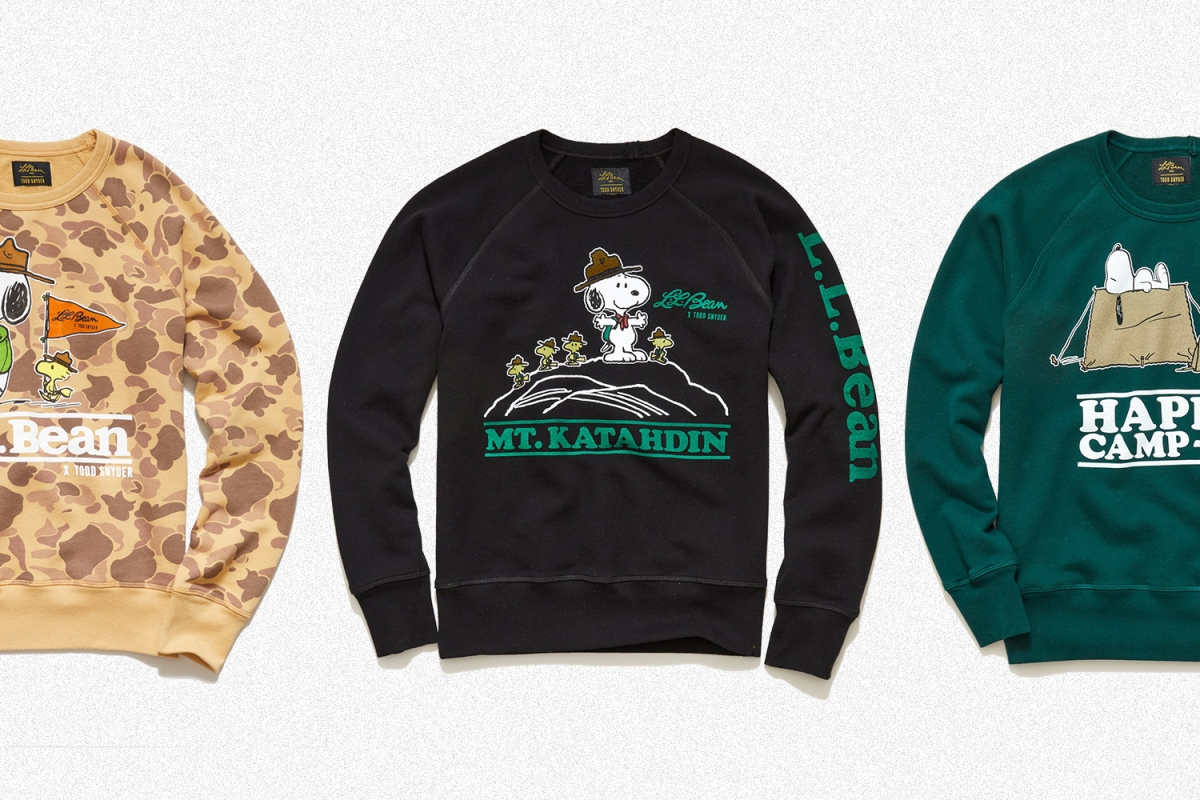 Camo, black and green sweatshirts with Snoopy and Woodstock. The Todd Snyder, L.L.Bean and Peanuts collaboration styles are on sale.