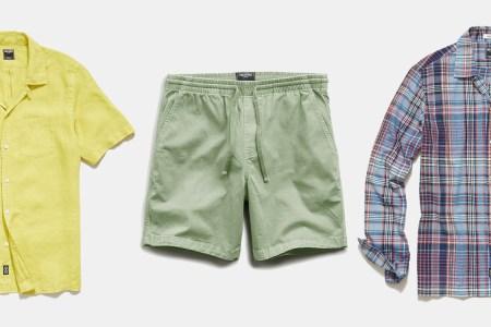 Todd Snyder Linen Camp Collar Shirt, Weekend Shorts, Madras Camp Collar Shirt