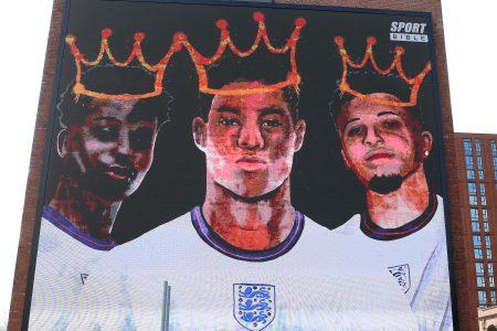 A digital mural unveiled in support of Black English soccer players Marcus Rashford, Jadon Sancho and Bukayo Saka