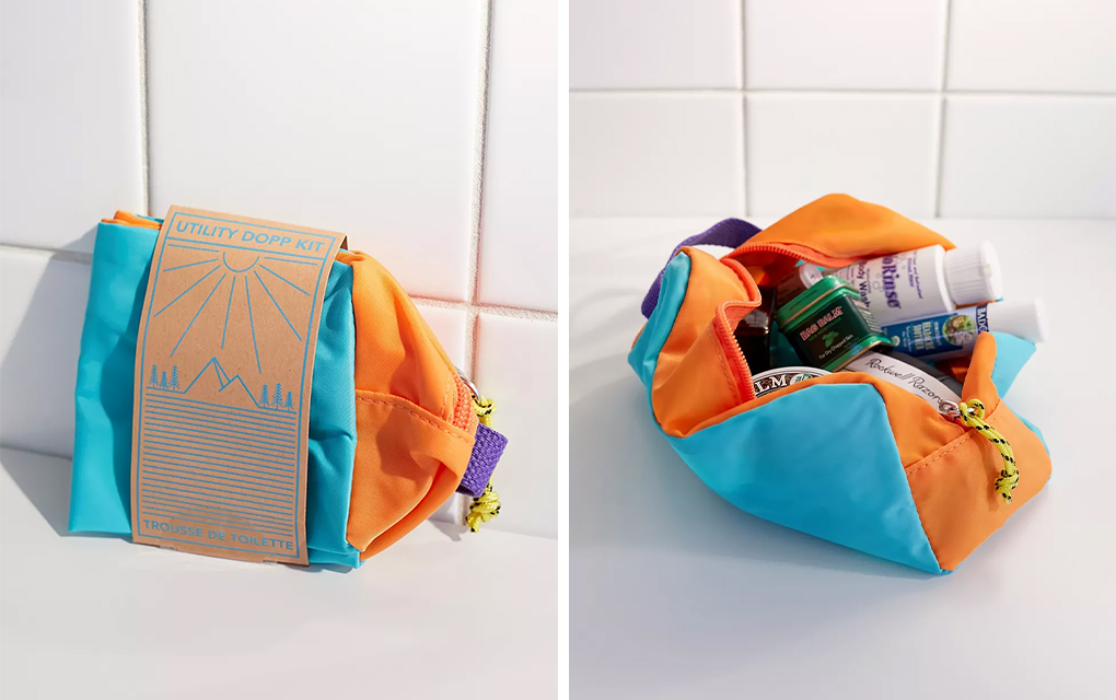 UO Utility Dopp Kit in Blue and Orange