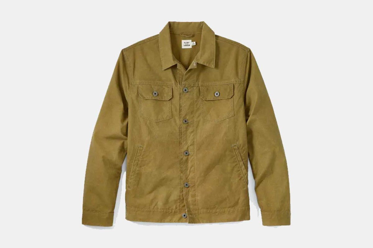 The Unlined Waxed Trucker Jacket from Flint and Tinder. For a limited time, you can get the men's coat at Huckberry for $66 off.