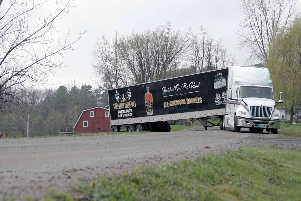 WhistlePig rolling rickhouse leaving the WhistlePig farm in Vermont
