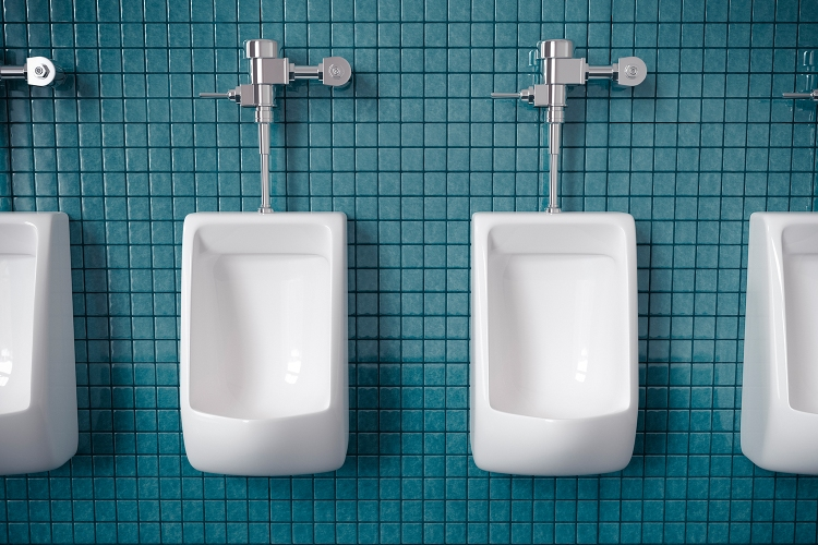 White urinals on a blue tiled wall in a bathroom