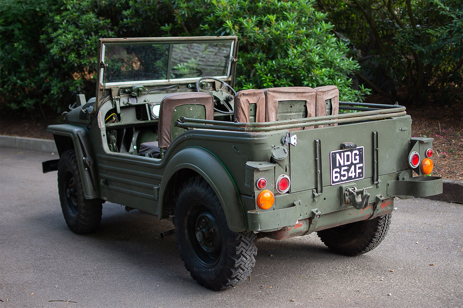 The rear end of a 1952 Austin Champ, a British off-road 4x4 built to outperform the American jeeps of World War II. This model was auctioned off in August 2021.
