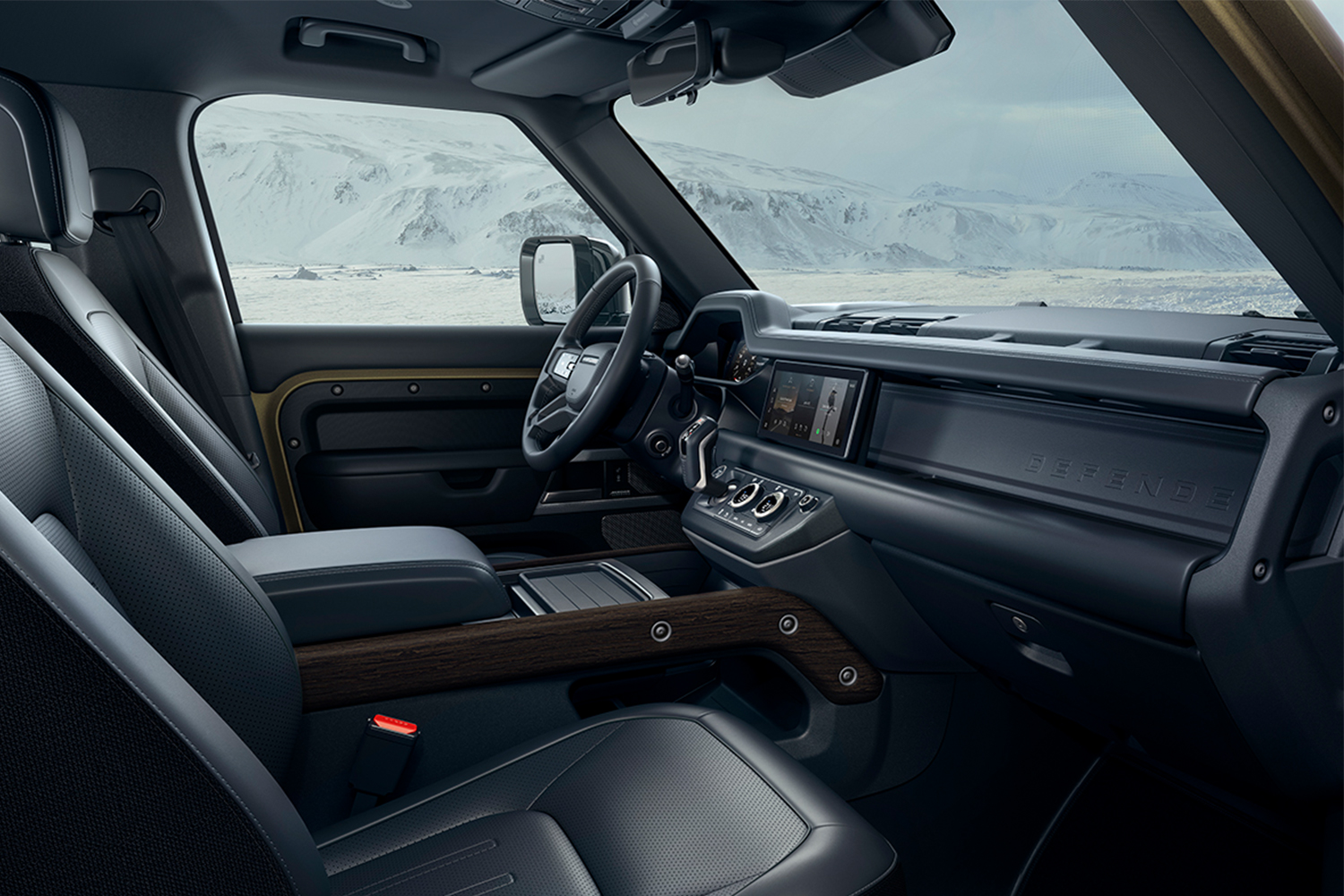 The interior of the 2021 Land Rover Defender, featuring a number of luxurious amenities and some we didn't like as much after test driving the model.