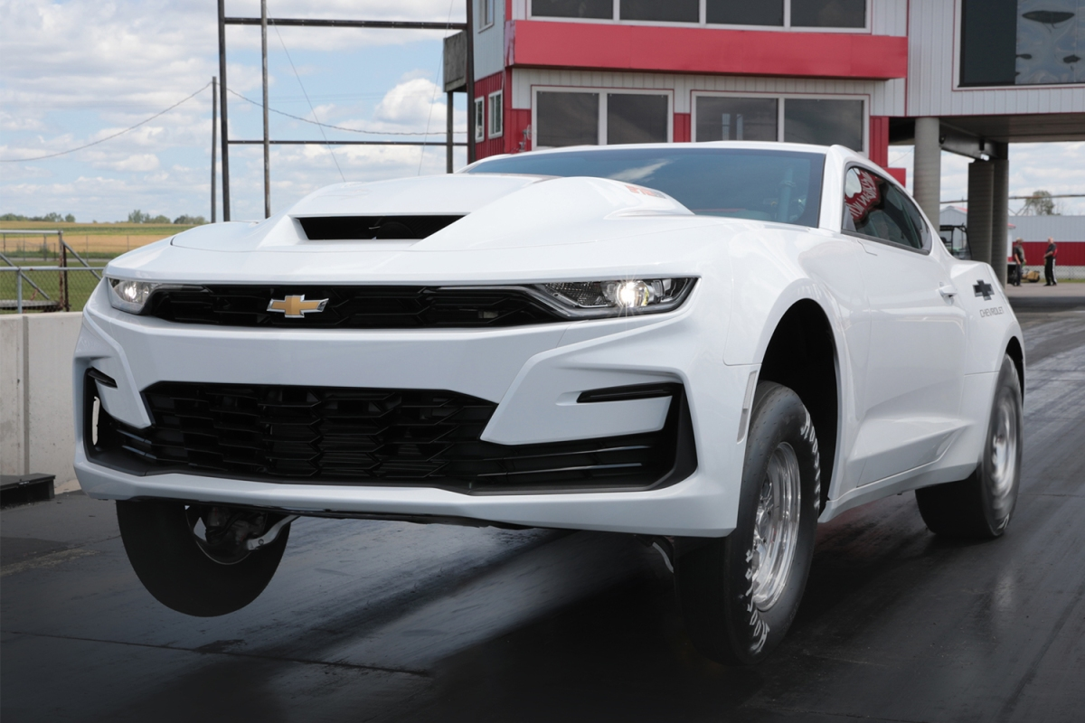 The new 2022 Chevrolet COPO Camaro on the drag strip. The Chevy has the biggest V8 from an American automaker.